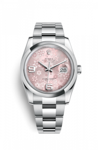 Rolex 116200-0072 : Datejust 36 Stainless Steel Domed / Oyster / Pink Floral