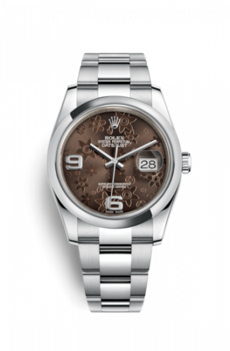 Rolex 116200-0073 : Datejust 36 Stainless Steel Domed / Oyster / Chocolate Floral