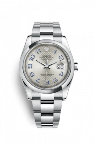 Rolex 116200-0074 : Datejust 36 Stainless Steel Domed / Oyster / Silver Arabic