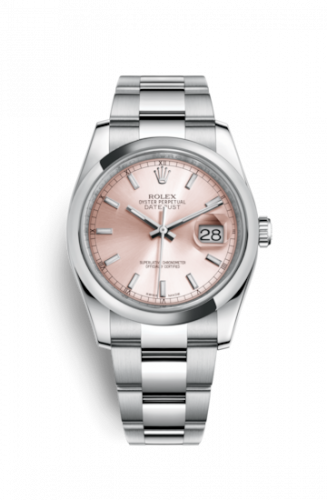 Rolex 116200-0079 : Datejust 36 Stainless Steel Domed / Oyster / Pink