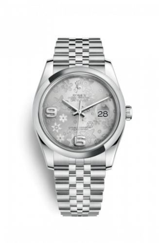 Rolex 116200-0085 : Datejust 36 Stainless Steel Domed / Jubilee / Silver Floral
