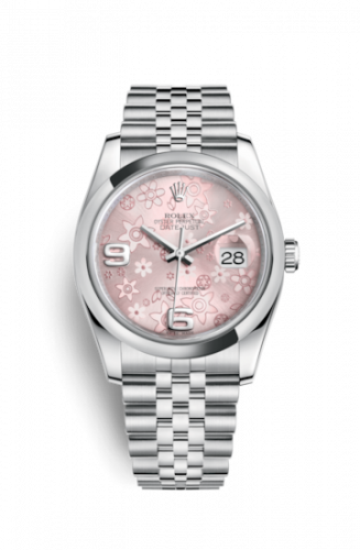 Rolex 116200-0086 : Datejust 36 Stainless Steel Domed / Jubilee / Pink Floral