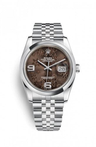 Rolex 116200-0087 : Datejust 36 Stainless Steel Domed / Jubilee  / Chocolate Floral