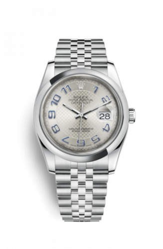 Rolex 116200-0088 : Datejust 36 Stainless Steel Domed / Jubilee / Silver Arabic