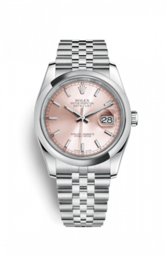Rolex 116200-0095 : Datejust 36 Stainless Steel Domed / Jubilee / Pink