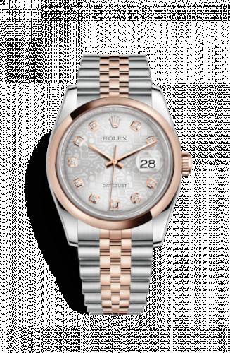Rolex 116201-0061 : Datejust 36 Rolesor Everose Domed / Jubilee / Silver Computer