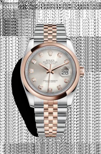 Rolex 116201-0063 : Datejust 36 Rolesor Everose Domed / Jubilee / Silver Diamond