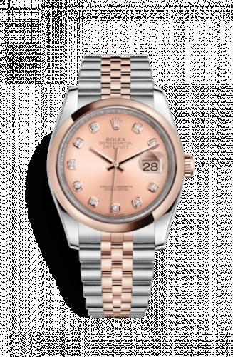 Rolex 116201-0064 : Datejust 36 Rolesor Everose Domed / Jubilee / Pink Diamond