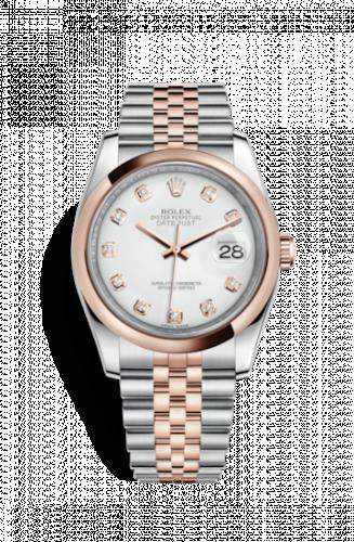 Rolex 116201-0067 : Datejust 36 Rolesor Everose Domed / Jubilee / White Diamond