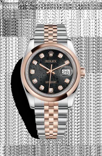 Rolex 116201-0068 : Datejust 36 Rolesor Everose Domed / Jubilee / Black Computer
