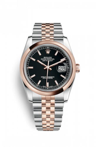 Rolex 116201-0075 : Datejust 36 Rolesor Everose Domed / Jubilee / Black