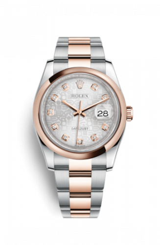 Rolex 116201-0077 : Datejust 36 Rolesor Everose Domed / Oyster / Silver Computer