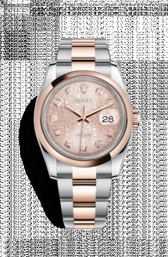 Rolex 116201-0078 : Datejust 36 Rolesor Everose Domed / Oyster / Pink Computer Diamonds