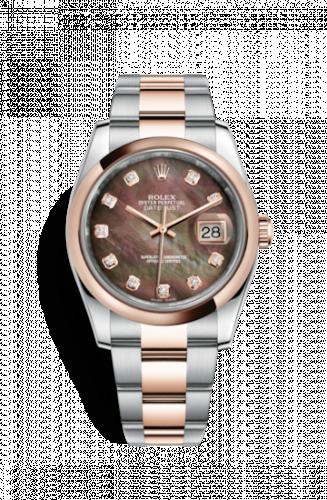 Rolex 116201-0079 : Datejust 36 Rolesor Everose Domed / Oyster / Black  MOP