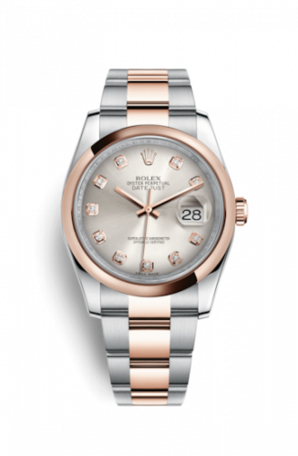 Rolex 116201-0080 : Datejust 36 Rolesor Everose Domed / Oyster / Silver Diamond