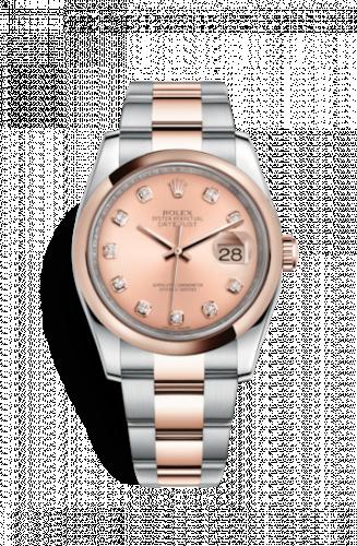 Rolex 116201-0081 : Datejust 36 Rolesor Everose Domed / Oyster / Pink Diamond