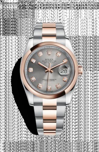 Rolex 116201-0082 : Datejust 36 Rolesor Everose Domed / Oyster / Steel Diamond