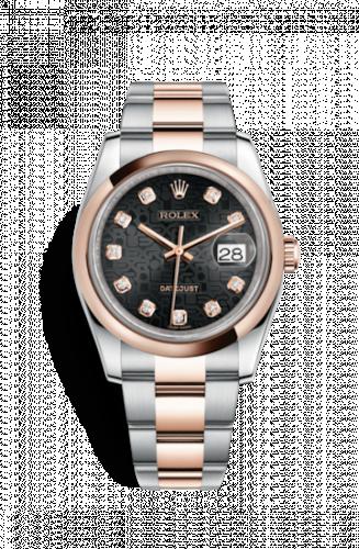 Rolex 116201-0085 : Datejust 36 Rolesor Everose Domed / Oyster / Black Computer