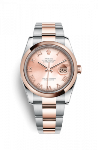Rolex 116201-0088 : Datejust 36 Rolesor Everose Domed / Oyster / Pink Roman