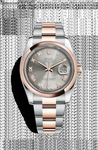 Rolex 116201-0090 : Datejust 36 Rolesor Everose Domed / Oyster / Steel Roman