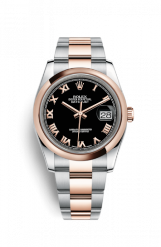 Rolex 116201-0092 : Datejust 36 Rolesor Everose Domed / Oyster / Black Roman