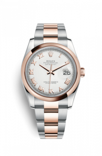Rolex 116201-0093 : Datejust 36 Rolesor Everose Domed / Oyster / Ivory Roman