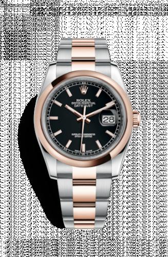 Rolex 116201-0094 : Datejust 36 Rolesor Everose Domed / Oyster / Black