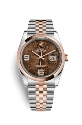 Rolex 116201-0104 : Datejust 36 Rolesor Everose Domed / Jubilee / Chocolate Floral