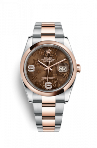 Rolex 116201-0105 : Datejust 36 Rolesor Everose Domed / Oyster / Chocolate Floral
