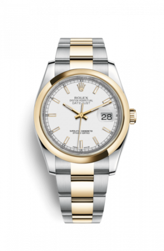 Rolex 116203-0124 : Datejust 36 Rolesor Yellow Domed / Oyster / White