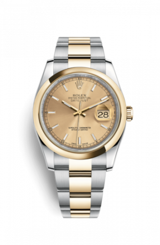 Rolex 116203-0125 : Datejust 36 Rolesor Yellow Domed / Oyster / Champagne