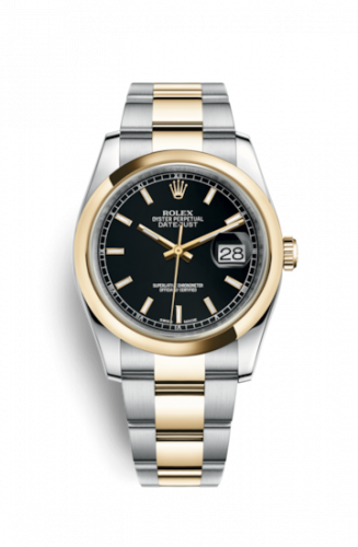 Rolex 116203-0126 : Datejust 36 Rolesor Yellow Domed / Oyster / Black