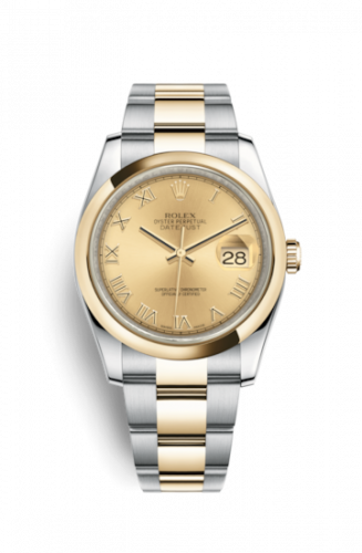 Rolex 116203-0128 : Datejust 36 Rolesor Yellow Domed / Oyster / Champagne Roman