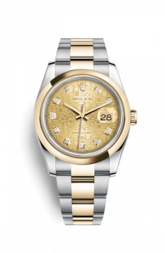 Rolex 116203-0129 : Datejust 36 Rolesor Yellow Domed / Oyster / Champagne Computer