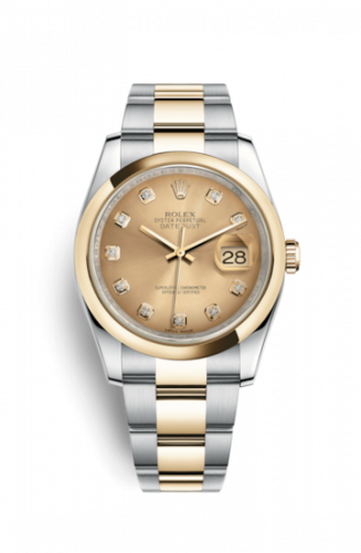 Rolex 116203-0130 : Datejust 36 Rolesor Yellow Domed / Oyster / Champagne Diamonds