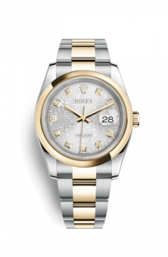 Rolex 116203-0132 : Datejust 36 Rolesor Yellow Domed / Oyster / Silver Computer