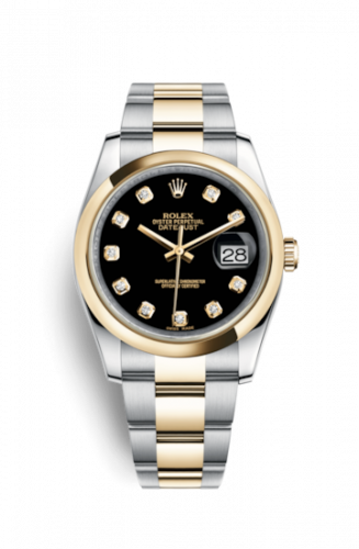 Rolex 116203-0133 : Datejust 36 Rolesor Yellow Domed / Oyster / Black Diamond