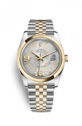 Rolex 116203-0139 : Datejust 36 Rolesor Yellow Domed / Jubilee / Silver Floral