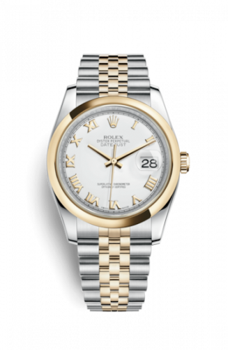 Rolex 116203-0144 : Datejust 36 Rolesor Yellow Domed / Jubilee / White Roman