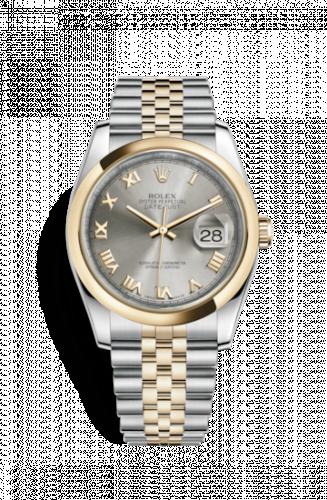 Rolex 116203-0145 : Datejust 36 Rolesor Yellow Domed / Jubilee / Steel Roman