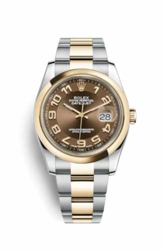 Rolex 116203-0152 : Datejust 36 Rolesor Yellow Domed / Oyster / Bronze Arabic