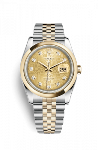 Rolex 116203-0173 : Datejust 36 Rolesor Yellow Domed / Jubilee / Champagne Computer