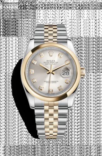 Rolex 116203-0176 : Datejust 36 Rolesor Yellow Domed / Jubilee / Silver Diamonds