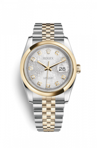 Rolex 116203-0177 : Datejust 36 Rolesor Yellow Domed / Jubilee / Silver Computer