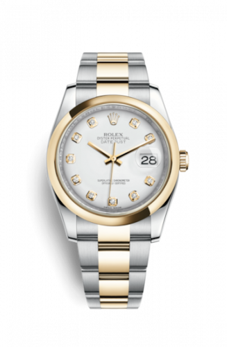 Rolex 116203-0187 : Datejust 36 Rolesor Yellow Domed / Oyster / White Diamond