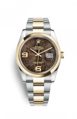 Rolex 116203-0188 : Datejust 36 Rolesor Yellow Domed / Oyster / Bronze Floral