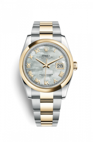 Rolex 116203-0190 : Datejust 36 Rolesor Yellow Domed / Oyster / MOP Roman