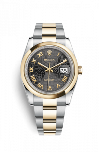 Rolex 116203-0191 : Datejust 36 Rolesor Yellow Domed / Oyster / Black Computer Roman