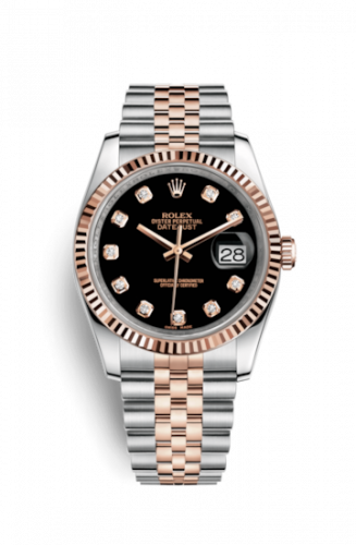 Rolex 116231-0056 : Datejust 36 Rolesor Everose Fluted / Jubilee / Black Diamonds
