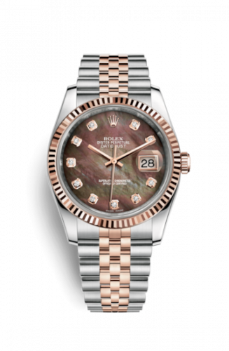 Rolex 116231-0061 : Datejust 36 Rolesor Everose Fluted / Jubilee / Black MOP
